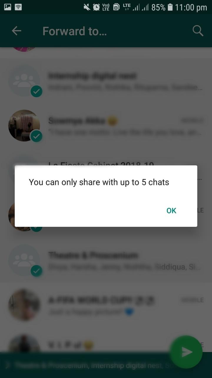 whatsapp forward restrcitions, only 5 chats forward, social media,intagram, updates, new Instagram updates, facebook, facebook updates, WhatsApp, WhatsApp updates, social media channel, social media marketing, 2018 social media updates