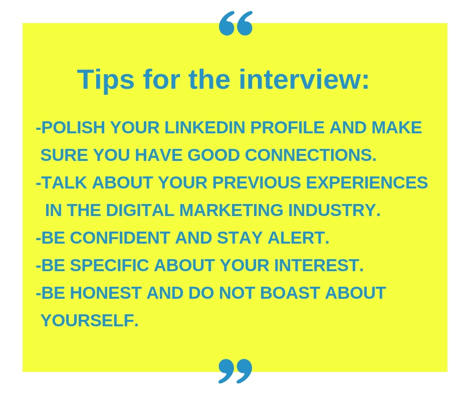 tips for interview, tips for digital marketing interview
